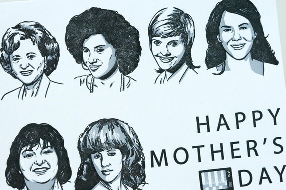 Letterpress Mother's Day Card - Sitcom Moms