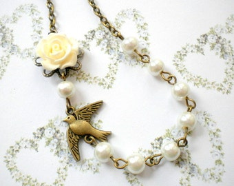 Flower Girl Gift Necklace Ivory Pearl Children Necklace Baby Girl Wedding Jewelry Flower Girl Necklace Children Bird Necklace Girl Jewelry