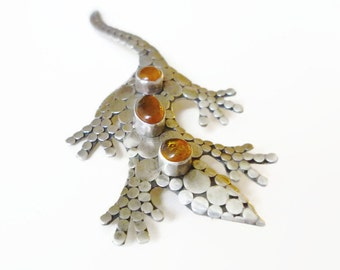 Sterling Amber Brooch, Lizard Brooch, Gecko, Sterling Silver, Natural Amber, Sajen Style, Vintage Jewelry