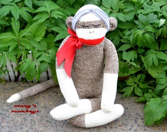 Meditating Sock Monkey Doll, Lotus Yoga Position