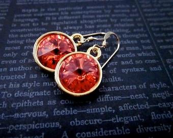 Padparadscha Swarovski Crystal Earrings -- Gold & Coral Crystal Earrings -- Coral Dangle Earrings -- Padparadscha Earrings