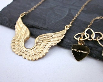 Guardian Angel Necklace -- Gold Angel Wing Necklace -- Wing Charm Necklace -- Gold Wing Necklace -- Mantra Necklace -- Wing Jewelry
