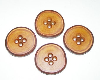 "4 Handmade plum wood Tree Branch Buttons with Bark, accessories (1,69'' diameter x 0,28"" thick)"