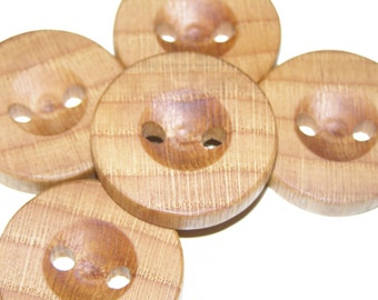 "5 Handmade oak wood buttons , accessories (1,38"" diameter x 0,28"" thick)"