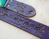 Custom Leather Guitar Strap - Acoustic or Electric - Tie-Dye Purple Mama - Personalized Floral Design - Hand Tooled and Painted