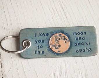 I Love You to the Moon and Back - leather luggage tag or key chain - hand tooled and hand stamped with custom initials - Valentines Gift