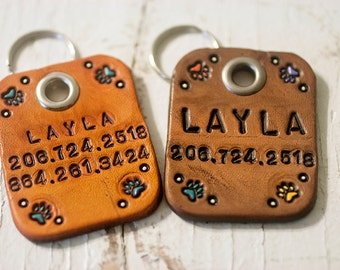 Custom Leather Dog Tag - Perfect for Large Dogs -Personalized name & phone number - hand cut, stamped and painted