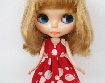 Red Balloons Dress for Blythe doll