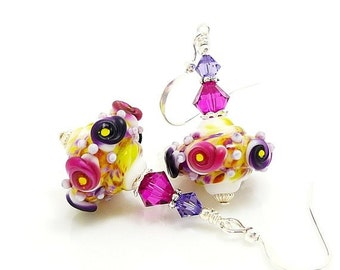 Pink & Purple Earrings, Baroque Earrings, Lampwork Earrings, Glass Earrings, Beadwork Earrings, Unique Earrings, Lampwork Jewelry