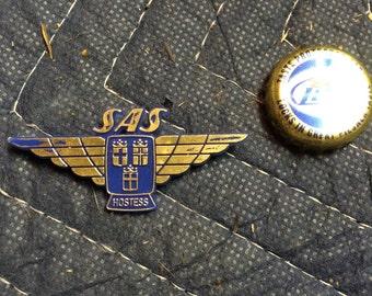 SAS hostess pin blue plastic