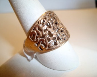 Lattice Design  Bronze Ring - Handmade Using Lost Wax Techniques - Size  5 1-2 and Other Sizes in Custom Order- Available in Sterling Silver