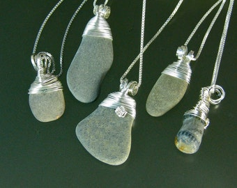 Finger Lakes beach stone pendants hand wrapped in silver with hand formed silver bails, bright sterling silver chains