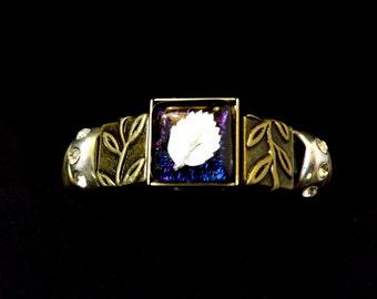 Fused Glass Leather Slide Bracelet