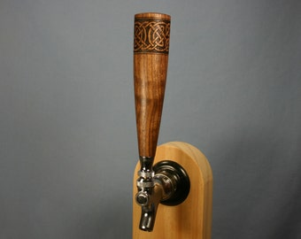 Wood Beer Tap Handle - Made to Order - With Woodburned Celtic Knot - Different Woods Available
