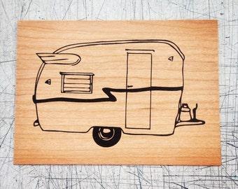 Trailer - Screen print on wood veneer // Caravane - Sérigraphie sur placage de bois