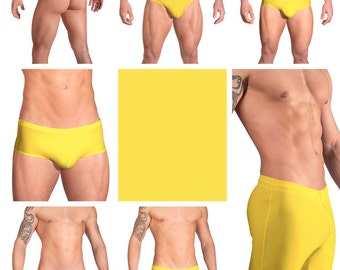 Solid Yellow Swimsuits for Men by Vuthy Sim.  Choose Thong, Bikini, Brief, Squarecut, Boxer, or Board Shorts - 11