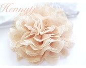 1 pc TAN NUDE Champagne Large Shabby Chic Frayed Chiffon Mesh and Lace Rose Fabric Flowers