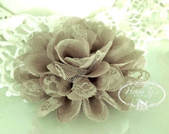 """2 pieces  4.5"""" inch BEIGE / SAND Large Shabby Chic Frayed Chiffon Mesh and Lace Rose Fabric Flower."""