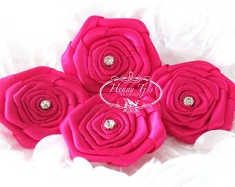 "Allure - SHOCKING PINK (4pcs) 2"" inch Rhinestone Rosette Fabric Flowers. Rose Bud Satin Ribbon Flowers. DIY Supplies."