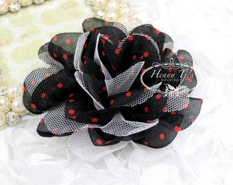 "New: 2 pieces 3.5"" inch Polka Dots Chiffon and Tulle Ruffle Fabric Flowers - BLACK w/ Red Dots."