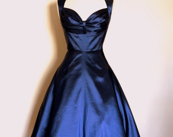 Midnight Blue Taffeta Bustier Evening Dress - made by Dig For Victory