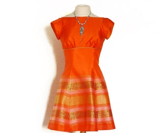 Size UK 8 (US 4-6) - Orange & Gold Vintage Sari Party Dress