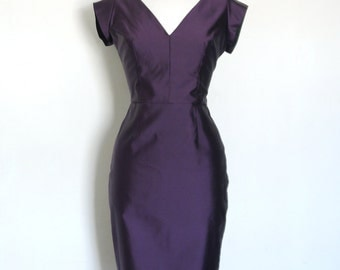 Purple & Navy Two-tone Silk Pencil Dress-  Made by Dig For Victory