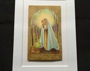 Vtg 5 x 7 Matted Religious Card - Mary and Jesus - Stella Matutina