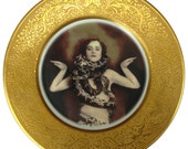 The Snake Lady - Circus Freak Series  - Altered Vintage Plate 10.75""