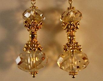 Crystal drop earrings, dangle earrings, swarovski crystal earring, gold earrings, swarovski earrings, crystal earrings, drop earrings