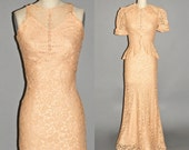 1930s Dress, 30s Lace Dress & Peplum Jacket, Vintage 1930s Bias Cut Evening Dress XS