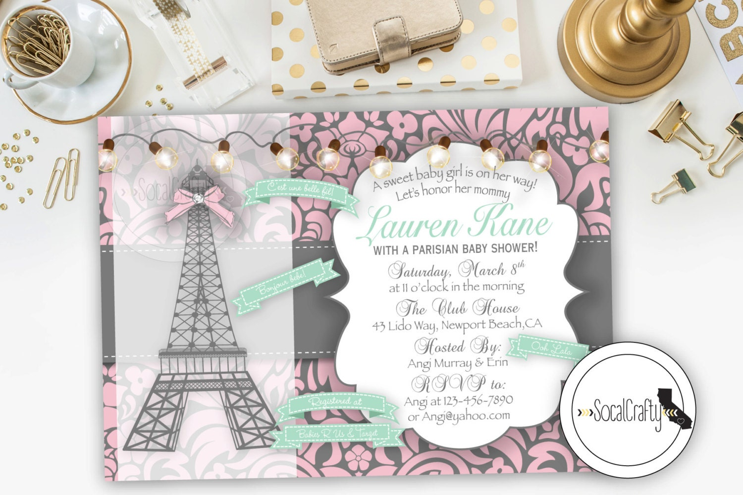 paris theme baby shower invitation parisian by socalcrafty on etsy