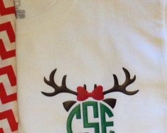 Adult Reindeer Monogrammed Long sleeve shirt
