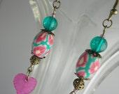 Bessie Belle Fucshia Pink and Mint Green Bead Dangle Earrings.