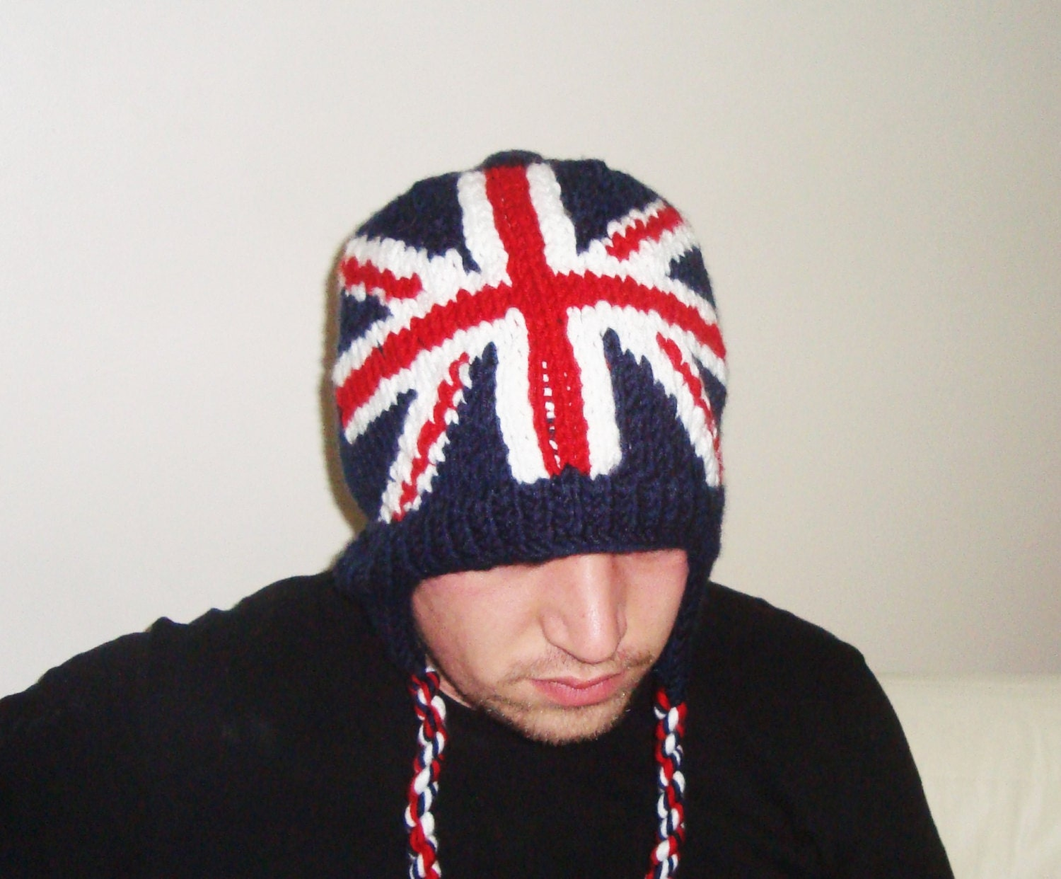 Knitting Pattern For Union Jack Hat : Knit British Flag Hat Union Jack Flag Hat England Flag English