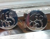 Silver Cufflinks, Funky Retro, Script, Hand Engraved, Sterling Monograms or initials