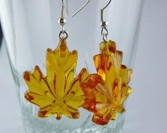 Brown Maple Leaf Earrings