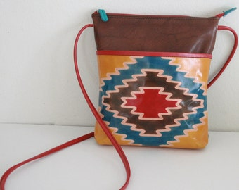 Genuine Leather American Indian Theme Hand painted in Gorgeous COLOR cross body bag, handbag, purse