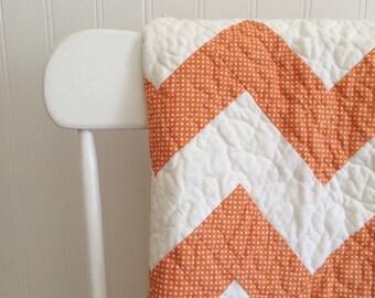 Handmade Modern Chevron Quilt, Ready to Ship