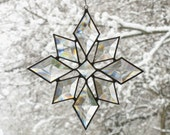Stained Glass Star Sun Catcher Suncatcher Snowflake Christmas Beveled (9bv Large) Handmade OOAK