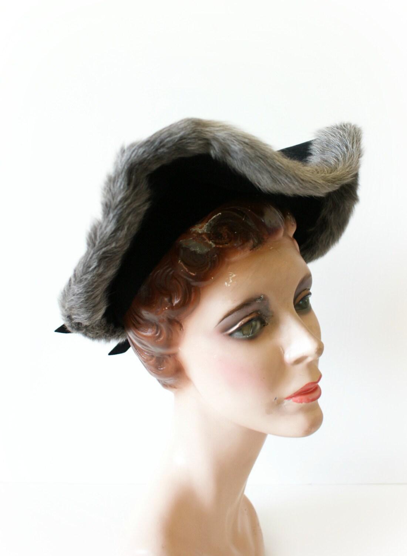 1940's Vintage Felt & Fur Hat