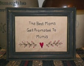 UNFRAMED Primitive Stitchery Picture Birth Moms MIMIS Gift Idea New Present Country Home Decor Baby Decoration Mothers Day Child wvluckygirl