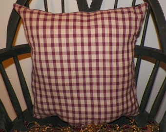 "UNSTUFFED Primitive Pillow Cover Large Prim Country Rustic Home Decor Decoration Red CHECKS Farmhouse Decorative House 16x16"" wvluckygirl"