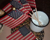 3 Tea Walnut Ink Stained Grungy Flags Americana Primitive Craft Supply