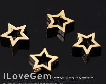 NP-1694 Gold Plated, Open Star, Pendant, 2pcs