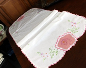 Linen Runner - Table Scarf Faded Embroidery and Applique Ends 12056