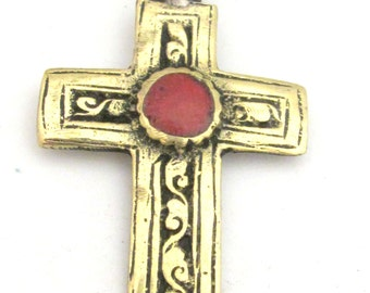Gorgeous Tibetan brass repousse cross pendant reversible with floral design and coral inlay- PM352A
