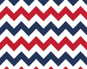 Laminated Cotton Oilcloth splat mat Riley Blake Patriotic red white and blue chevron choose your size