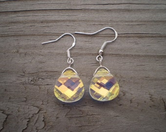 Faceted Swarovski Crystal Briolette French Hook Earrings