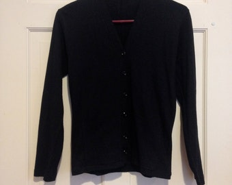 50s 60s Black Button Up Cardigan Sweater Pockets S